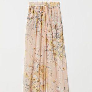 H&M Wide-leg Pants Light beige/floral